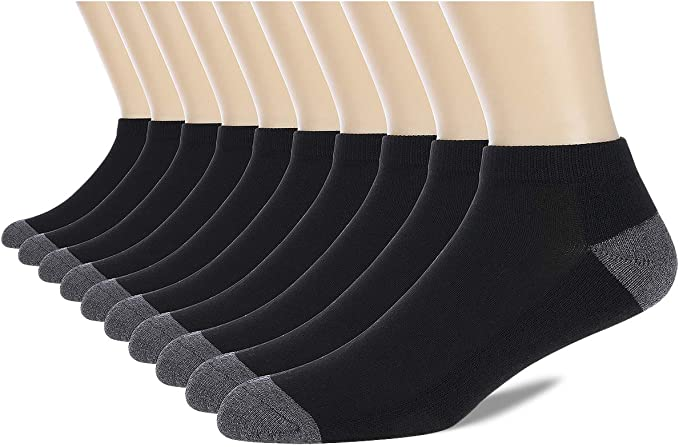 COOVAN Mens 6P Pack Athletic Low Cut Socks Men Ankle Casual Cushioned Running Sock With Moisture Wicking