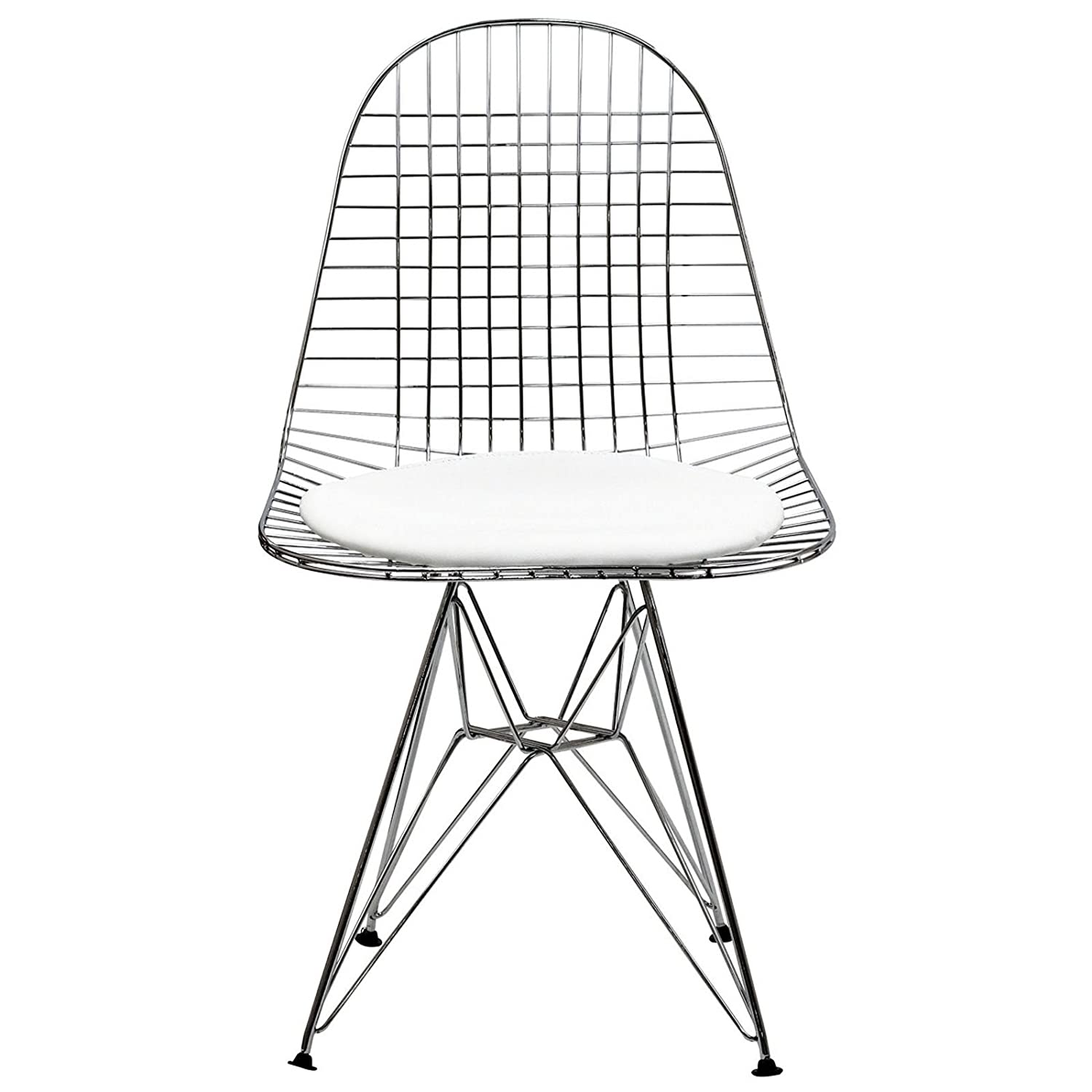 Amazon Modway Wire Tower Side Chair with White Vinyl Cushion