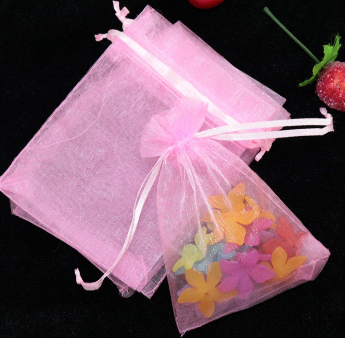 Homieco 100Pcs Organza sachets Cadeau Cordon de Serrage Bijoux Sac /à Bijoux Sachets Pochettes Cadeau faveur de Mariage Sacs pour Candy Bar Mariage Anniversaire No/ël Partie