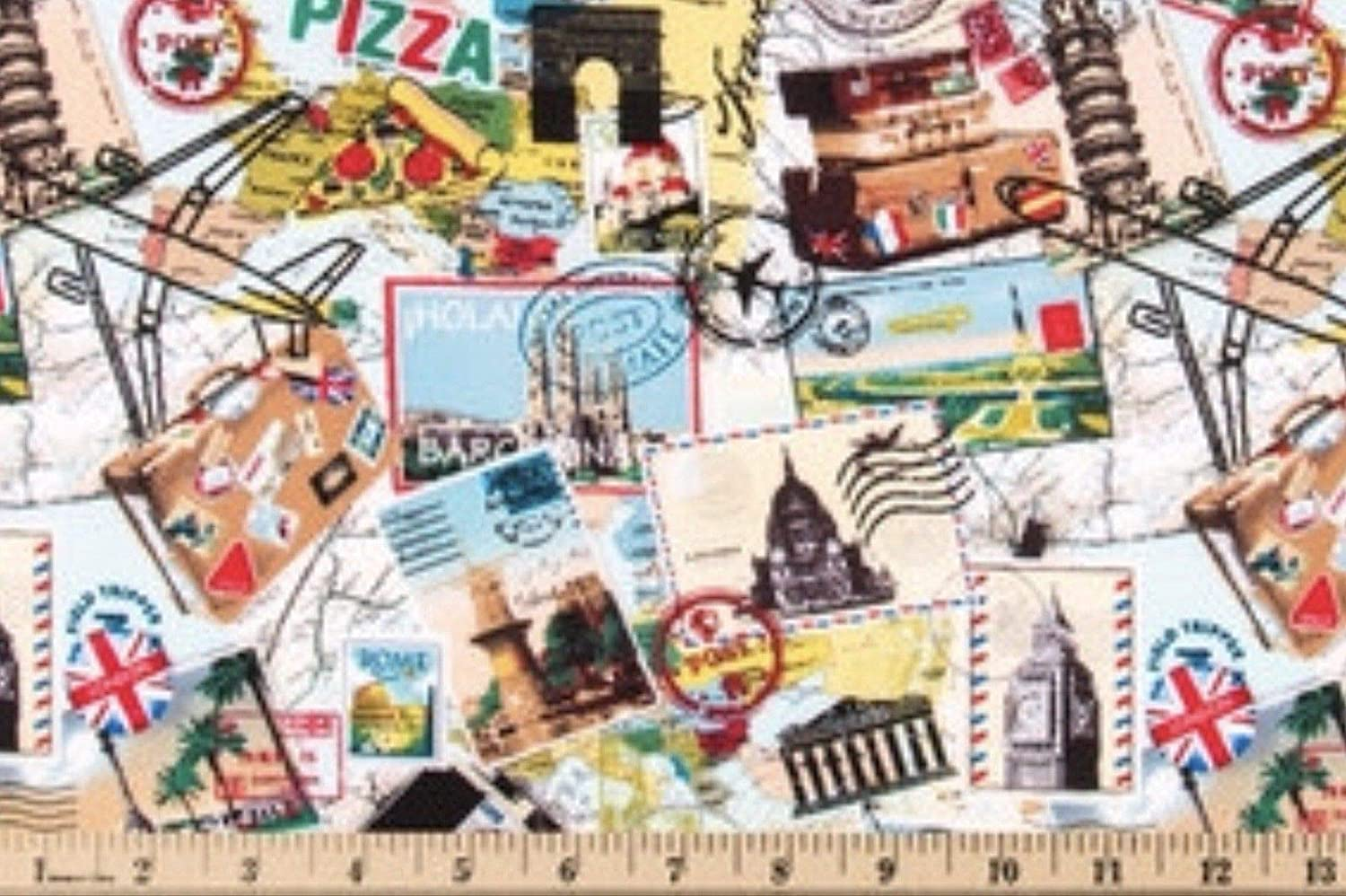 Amazon Com Travel Vacation Collage Cotton Quilting Fabric By The Half Yard 44 Wide X 18 Long Handmade