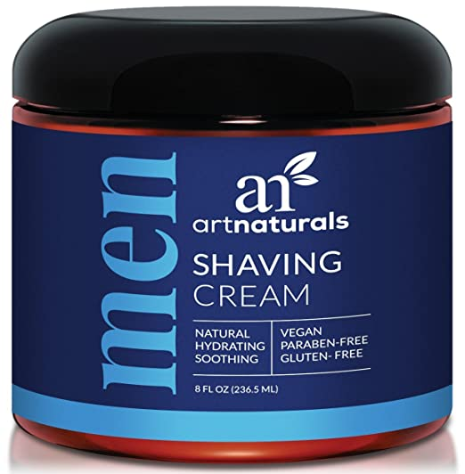 ArtNaturals Mens Shaving Cream 8 oz - Natural, Hydrating & Soothing - Great for Sensitive Skin - Formula is Antimicrobial, Anti-inflammatory, Antifungal and Exfoliating.