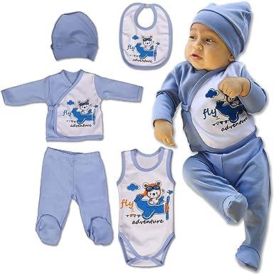 QAR7.3 Ropa Bebe Recien Nacido - 5 Piezas para Niños 0-3 Meses, Talla 56 - Azul: Amazon.es: Ropa y accesorios