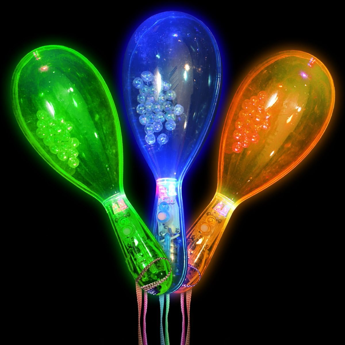 12 Pieces Flashing Light Maracas Maraca Dance Spanish Music Novelty Toy Noise Maker w/ Strap, Perfect for Party Favors, Goodie Bags (Colors May Vary) …