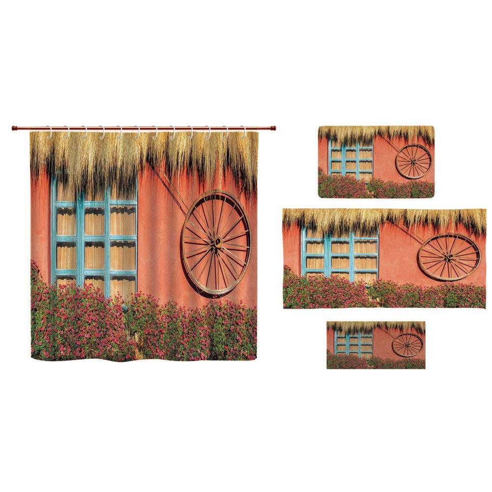 Bathroom 4 Piece Set Shower curtain floor mat bath towel 3d print,Barn Wood Wagon Wheel,Country House in Ecuador Red Wall Window Summer Flowers Straw Roof Decorative,Multicolor,Picture Print Design.
