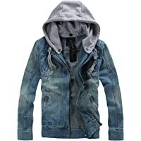 Springrain Men's Casual Slim Fit Hooded Denim Jacket