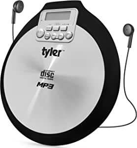 Tyler TDM-01 Portable CD Player - Multi-Function Music Device for Compact Disc, CD-R, CD-RW, CD-MP3 - X-Bass Stereo Sound and Anti-Shock - Pro-Earbuds - Black and Silver Design