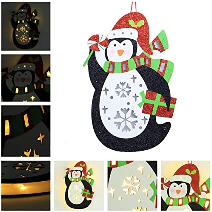 sunshinehomely decor merry christmas home decoration creative cute penguin wooden christmas house led light - Amazon Christmas Home Decor