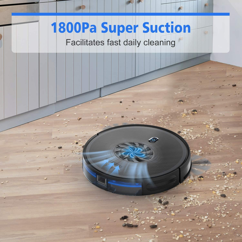 Medium-Pile Carpet Quiet Multiple Cleaning Modes 1800Pa Robotic Vacuum Cleaner Hard Floor Slim Self-Charging Vacuum Strong Suction ONSON Robot Vacuum for Pet Hair