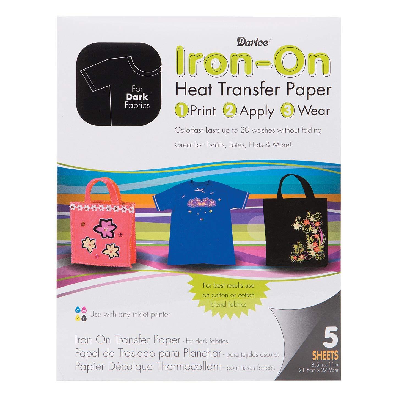 Bulk Buy: Darice DIY Crafts Dark Fabric Transfer Inkjet Paper 8 x 11 inches 5 sheets (2-Pack) UP7265-LS-5