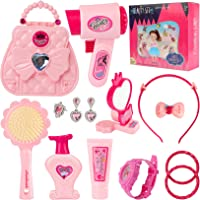 Mastom Girls Beauty Fashion Hair Salon Pretend Play Purse Set Including Toy Handbag, Hairdryer, Comb, Mirror, Jewelry…