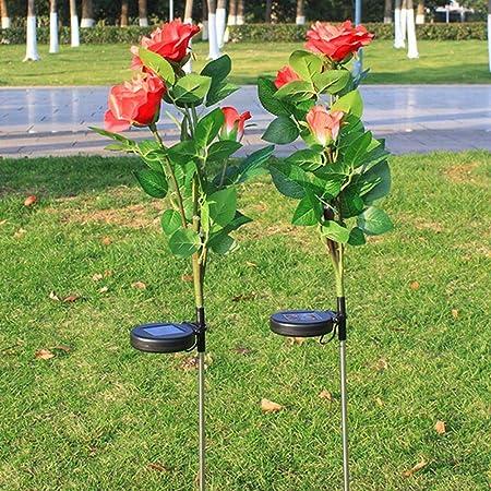 Luces solares de Flores de Rosas, 2 Piezas de lámpara LED Rosa Control Inteligente Exterior Impermeable Paisaje Decorativo Linterna para jardín balcón balcón: Amazon.es: Hogar
