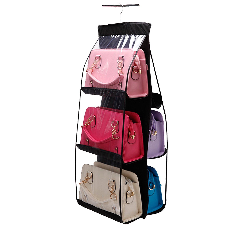 Vercord 6-Pocket Hanging Purse Handbag Tote Storage Holder Organizer Dust-Proof Closet Wardrobe Hatstand Space Saver, Black by Vercord