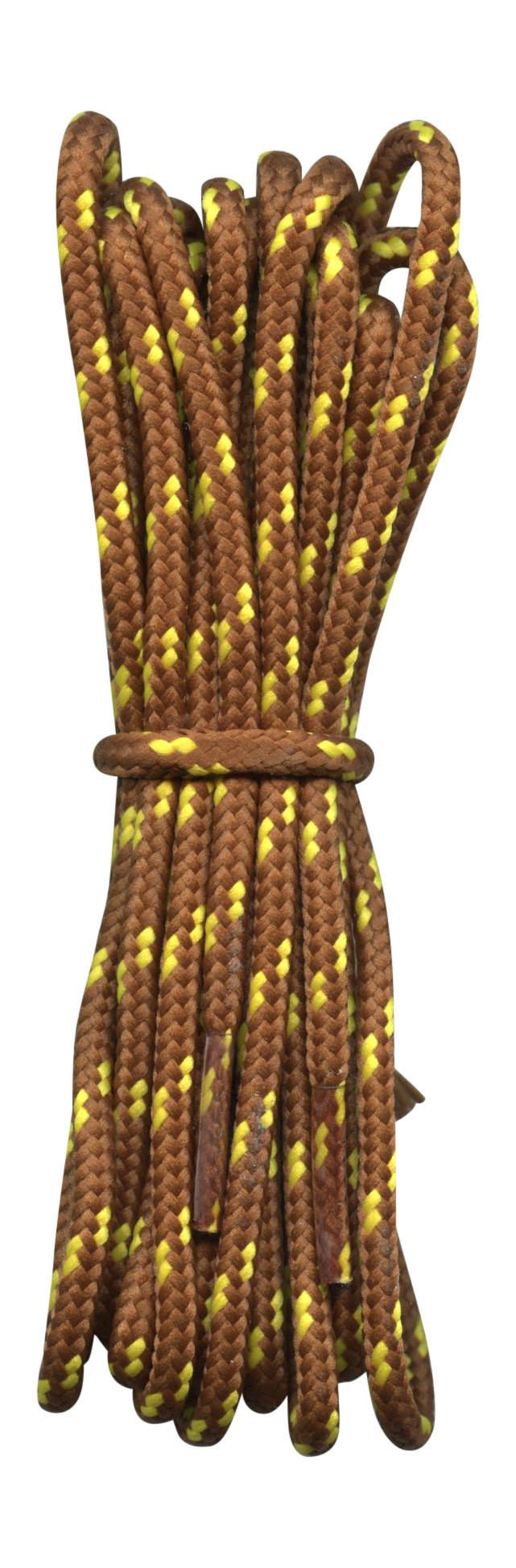 Rugged Round Boot Laces for Hiking, Walking shoes and Work Boots - Nutmeg Brown with Yellow flecks -94''