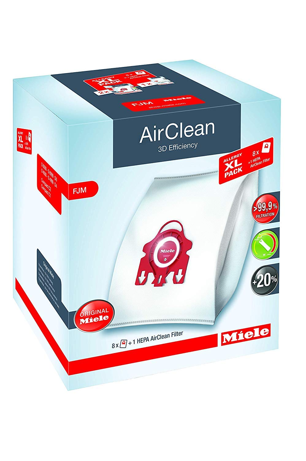 Miele AirClean 3D Efficiency Dust Bag, Type FJM, Allergy XL-Pack, 8 Bags, 2 Pre-Motor Filters, and 1 HEPA Filter