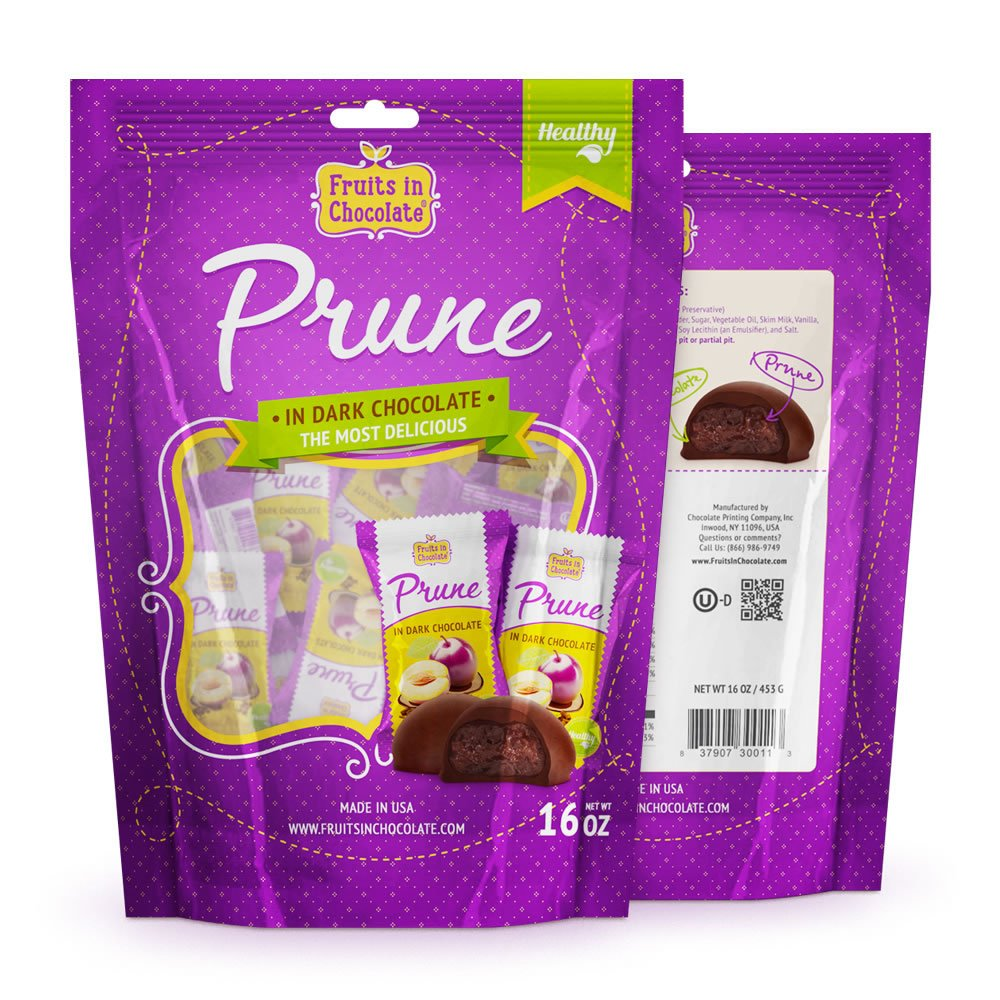 Dark Chocolate Covered Prunes, 16 Oz Bag by Fruits in Chocolate