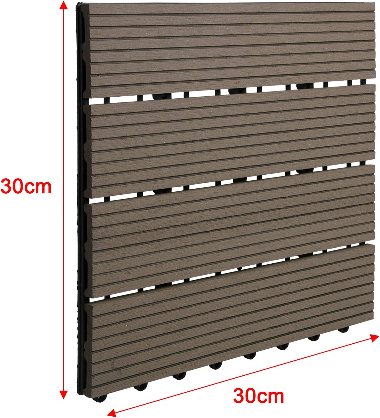 30x30cm mit Stecksystem Anthrazit 2m/² Garten klick-Fliese Terrassen-Fliese WPC Kunststoff Bodenbelag f/ür Terrasse Balkon