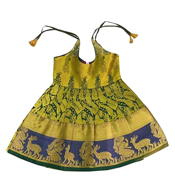 aaac0ef14a Image Unavailable. Image not available for. Colour: Pattu Pavadai Baby's  Girl's Raw Silk Striped New Born Frock ...