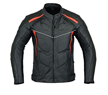 MOTORCYCLE ARMORED LEATHER JACKET BLACK WITH RED STRIPS ARMOR LJ-4009 L