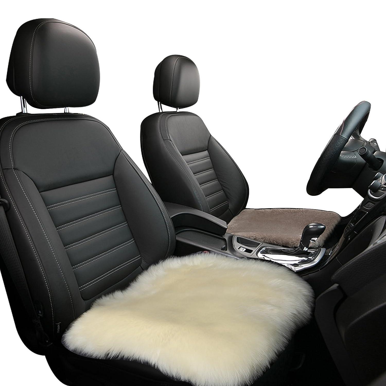 Lammfell Stuhlkissen 50x50cm Creme eSituro SCSC0009 Auto Sitzbezug Sitzkissen