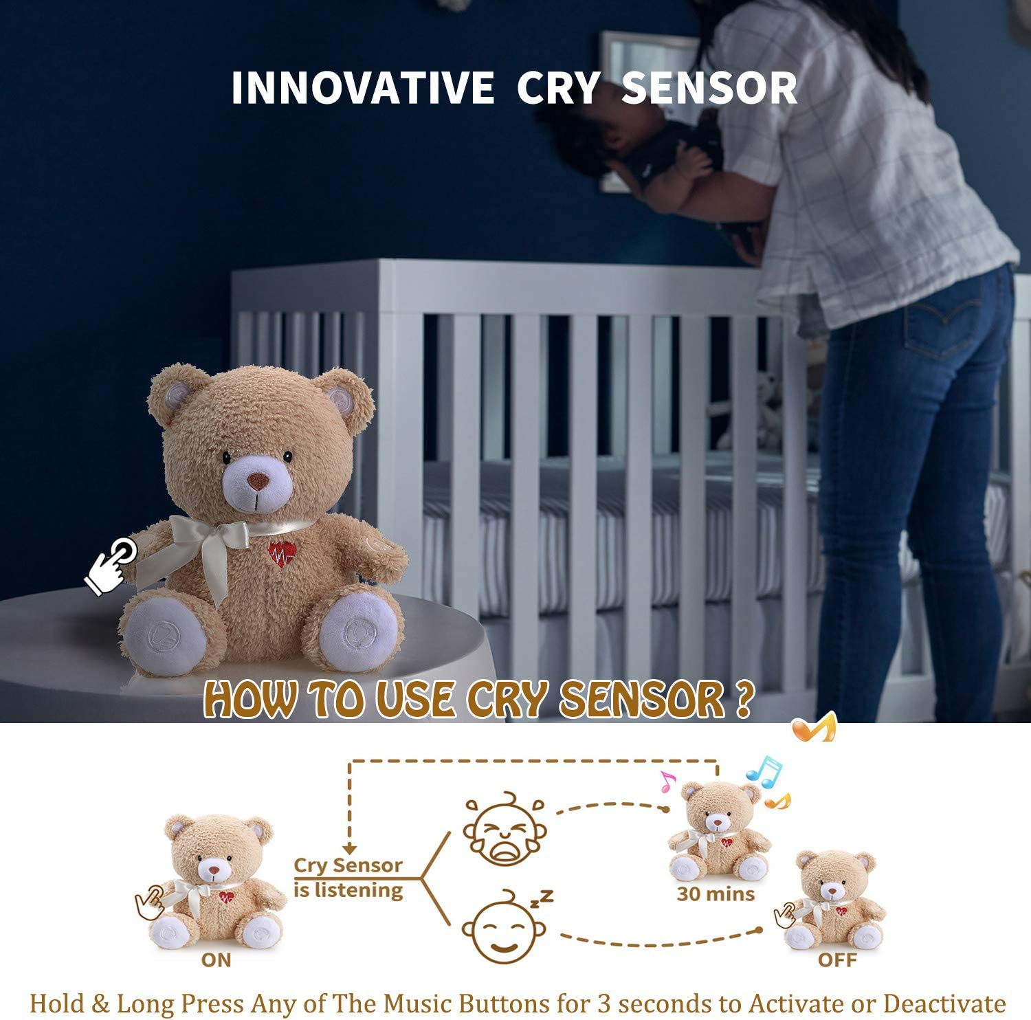 Baby Cry Sensor Honey Bear by BEREST Baby Sleep Soother Sleeping Aid White Noise Machine Infant Slumber Buddies Bear Toy Nursery Decor with Night Light Mom/'s Heartbeat 4 Sounds Therapy