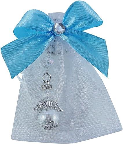 Amazon.com: Bautismo Favor perla ángel de vidrio llavero con ...
