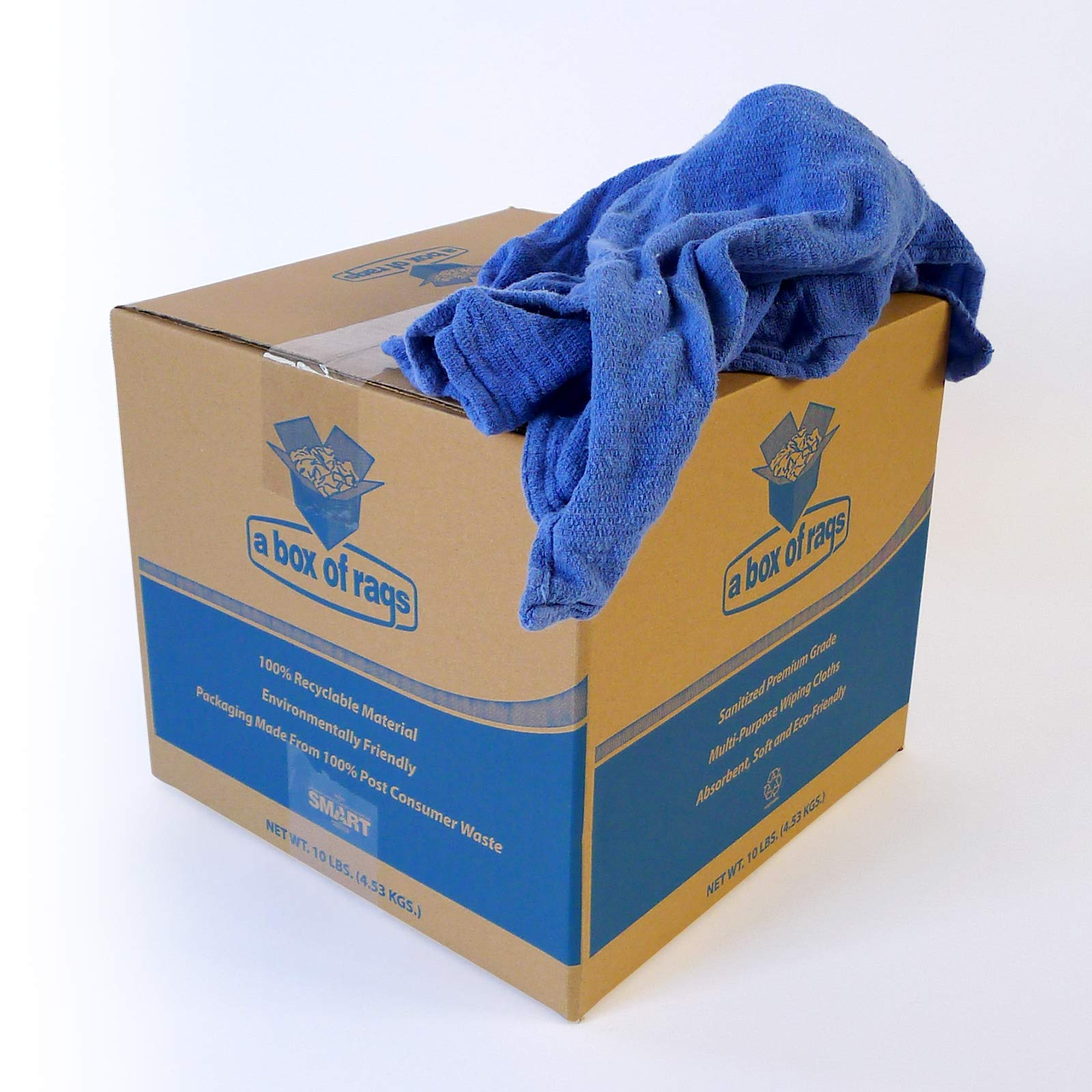 Recycled Blue Surgical Towel Rags - 10 Pound Box - A Perfect Non-Streaking No Lint Towel by A&A Wiping Cloth (Image #4)
