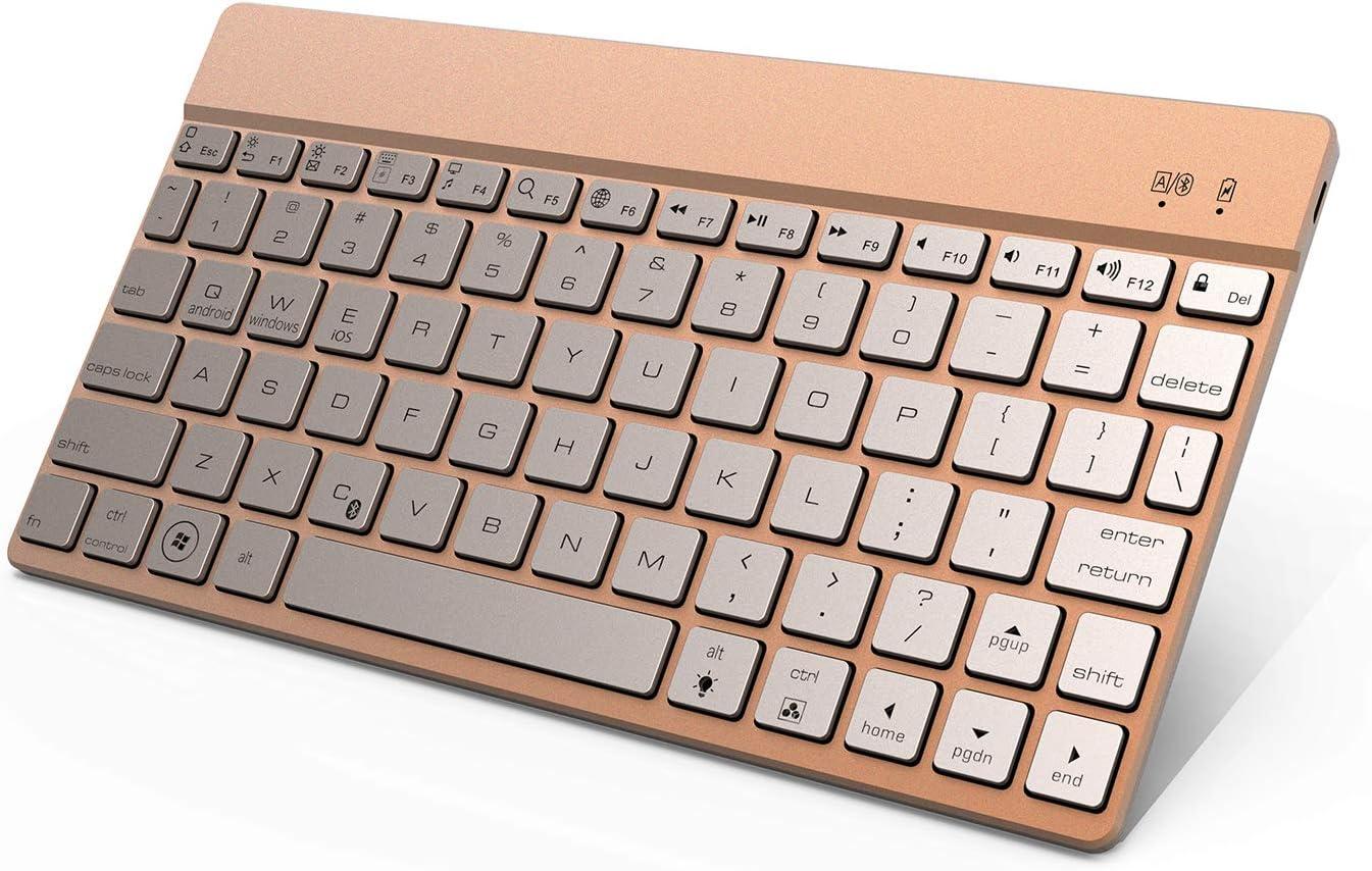 D Dingrich Teclado Bluetooth, QWERTY Mini Teclado para iPad Air, iPad Mini, iPad Pro 10.5, iPad Pro 12.9, Teclado inalámbrico para tabletas, iPhone y móviles