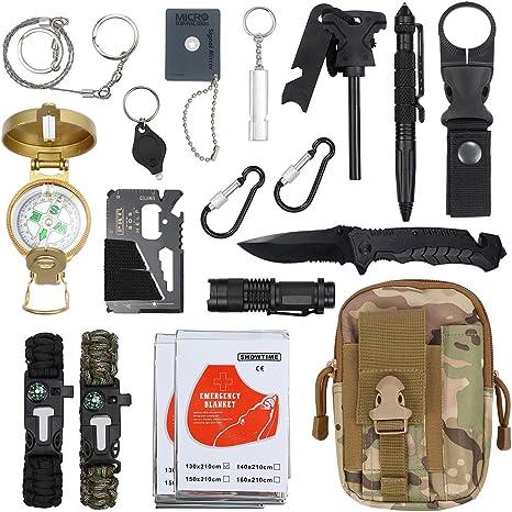 Justech Kit de supervivencia de emergencia para exteriores, herramienta de supervivencia con mosquetón de manta térmica, pulsera de iniciación de fuego, más para aventura, deportes al aire libre, viajes, senderismo: Amazon.es: Deportes