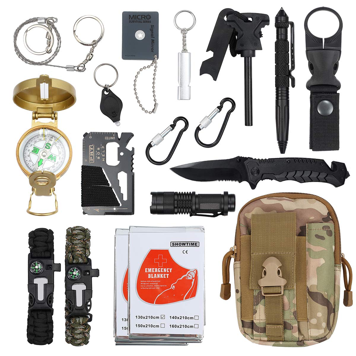 Emergency Survival Kit Justech Upgraded 18 in 1 Outdoor Survival Gear Kit Emergency SOS Survive Tool with Bracelet Temperature Compass Fire Starter Flashlight More for Wild Adventure Outdoor Sports