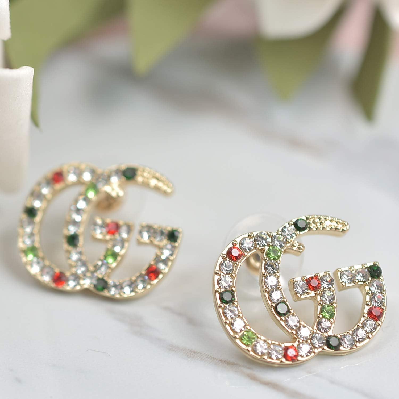G Earrings Luxury Initial Letter CC Earrings Sterling Silver Hypoallergenic Pearl Cubic Zirconia Earrings Colorful Crystal Drop Statement Earrings Alphabet Rhinestones Earrings for Women Girls