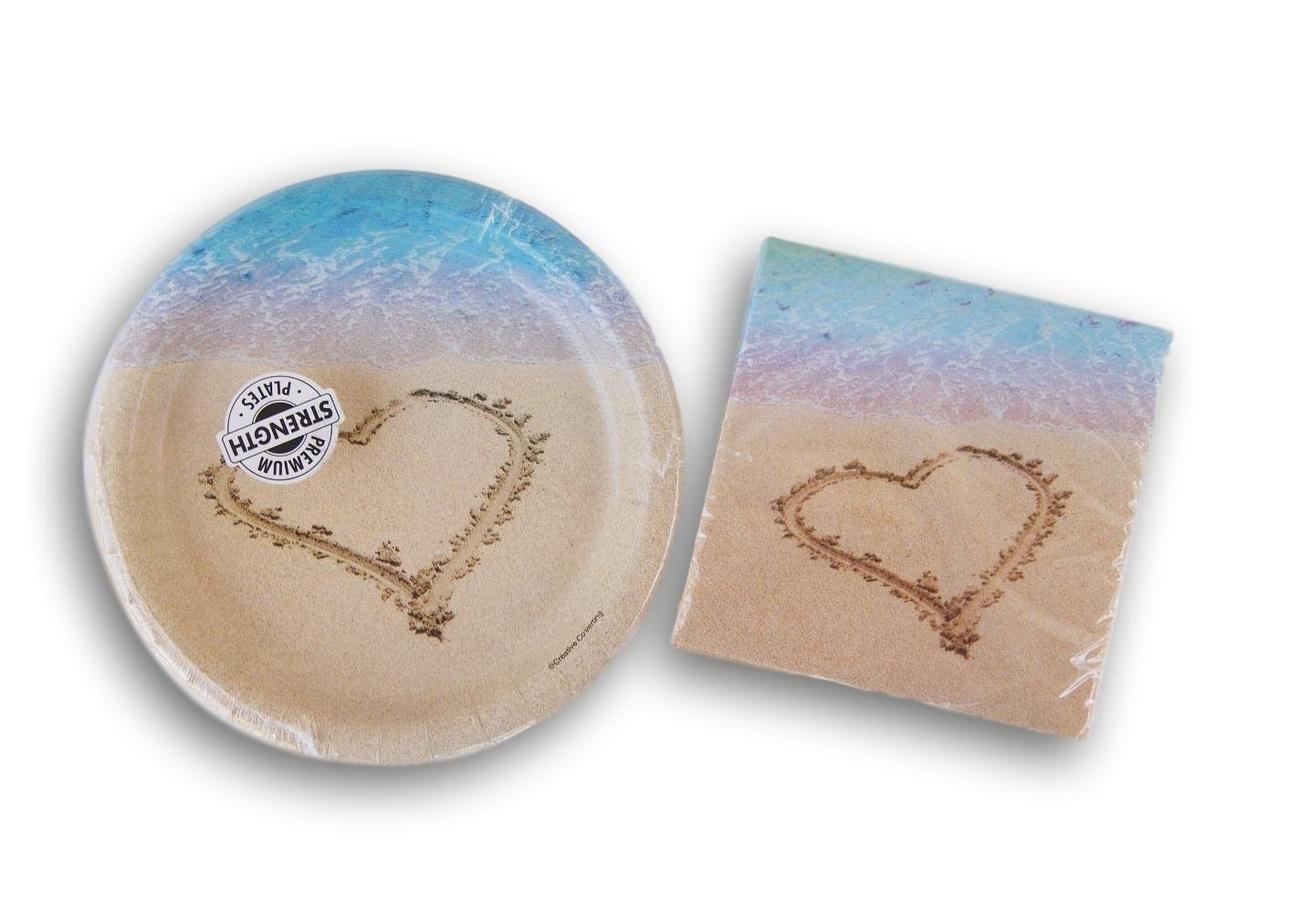 Paper Art Beach Love Party Supply Kit - Beverage Napkins and Dessert Plates