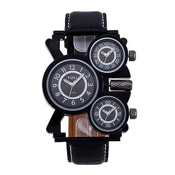 520b2740e2174 Amazon.com  Mens Big Face Unique Military Watch - Three Black Analog ...