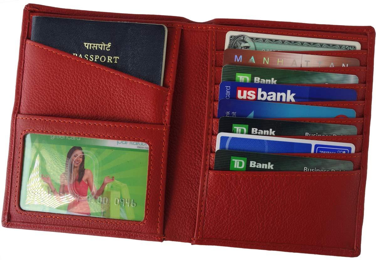 AurDo RFID Blocking Real Leather Passport Holder Cover Case & Travel Wallet for Men & Women (Red)