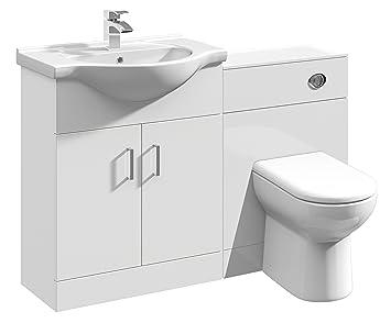 Amazon De 1150 Mm Modular Hochglanz Weiss Badezimmer Kombination
