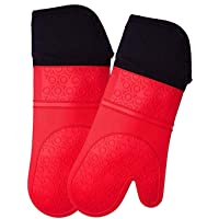 Silicone Oven Mitts,Heat Resistant Pot Holders,Non-Slip Oven Mita, Cooking Gloves,Double Mittens, Extra Long Oven Mits…