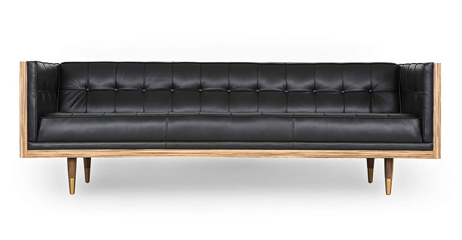Astonishing Kardiel Woodrow Midcentury Modern Box 87 Sofa Black Aniline Leather Zebrawood Ocoug Best Dining Table And Chair Ideas Images Ocougorg