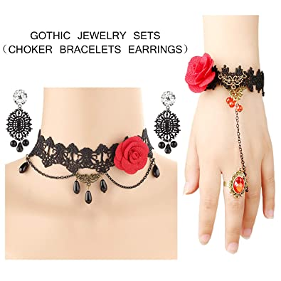 d9ef3651219ab Finrezio 3 Pack Vintage Black Lace Victorian Lolita Choker Necklace  Bracelets Earrings Set Women Girls Rose