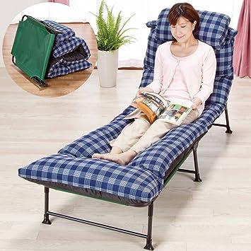 Amazon 簡易ベッド 折りたたみ リクライニングベッド 【チェック柄