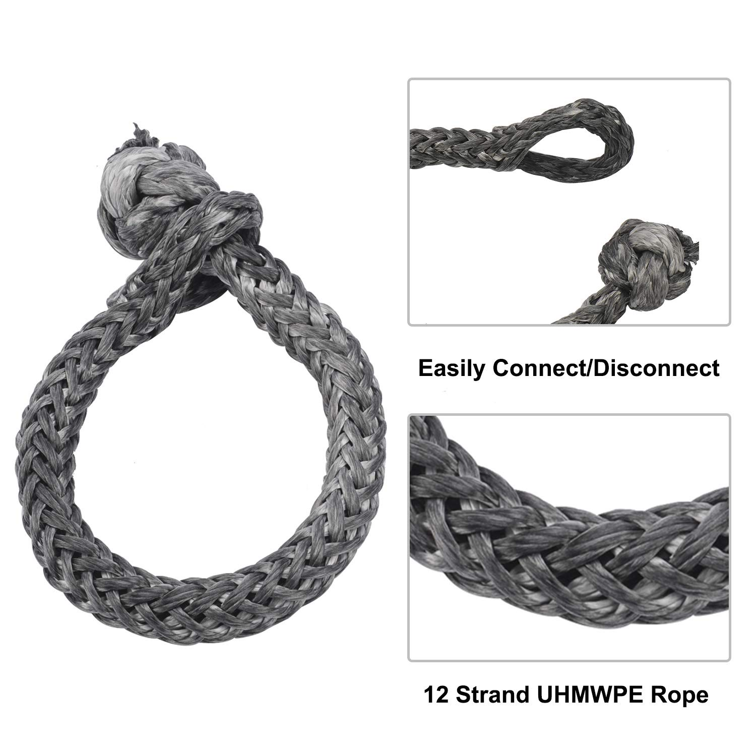 NovelBee 2 Pack of Soft Shackles,UHWMPE 12 Strand Synthetic Rope,Inner core Dia:10mm;Bow Width:150mm Blue