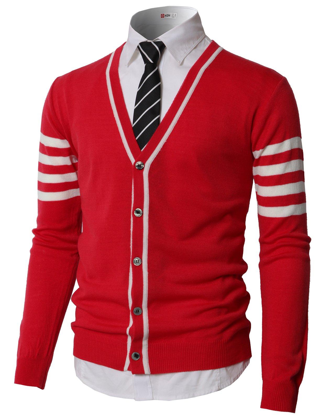 H2H Men Deep V Neck Color-Block Button Down Cardigan Red US M/Asia L (KMOCAL0186)