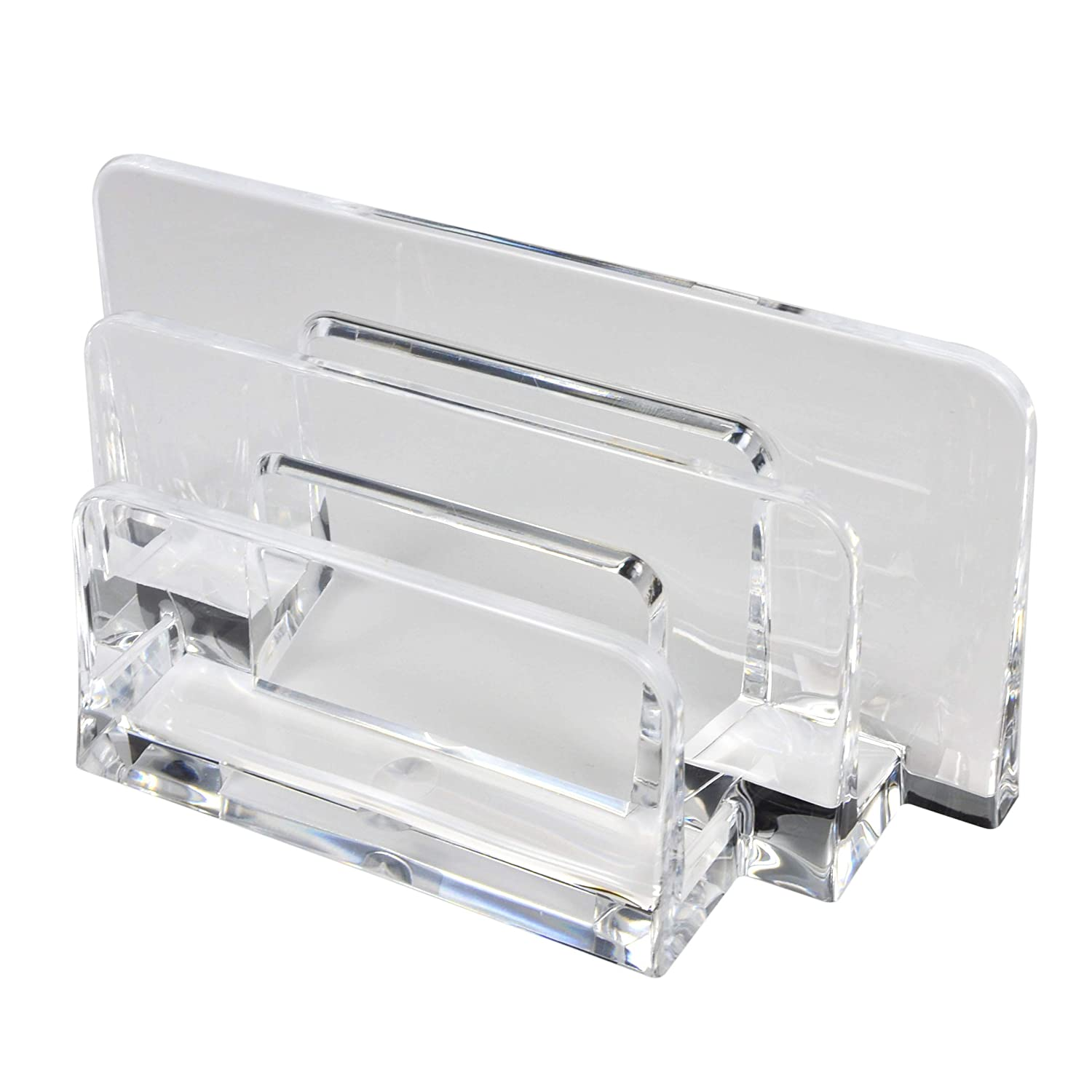 COM.TOP - Acrylic Letter Sorter File Folder Sorter for Paper, Letter, Envelope, Office File Organizer | Office Supplies, Desk Accessories - Clear, 6.4 x 2.4 x 3.1