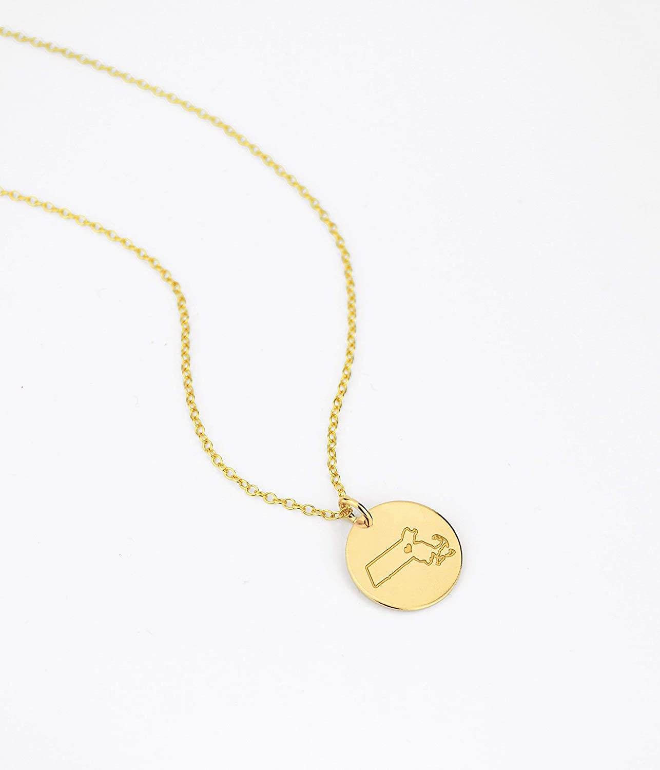 Engrave Gold Rose Gold Sterling Silver Jewelry Massachusetts Necklace