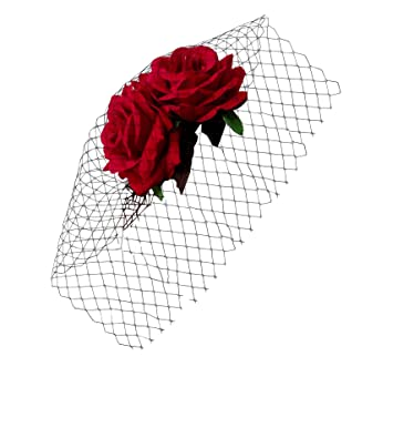 d7d082c28bf99 TOOKY Women Rose Flower Veil Fascinator Bridal Hair Clips Hat for Wedding  Party Cosplay Costume