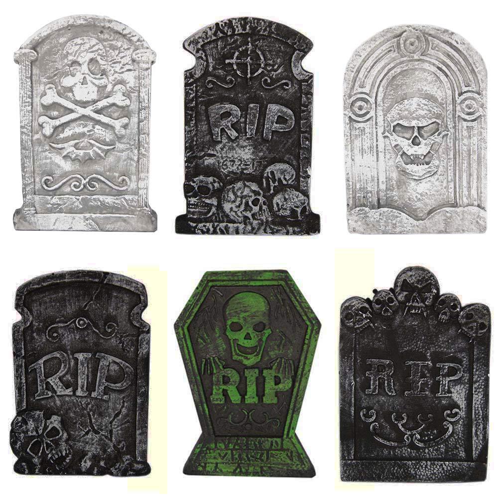 Halloween Decorations Graveyard Tombstones (6 Pack) Headstone Decorations 15'' for Halloween Yard Decorations by MeiGuiSha