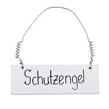Schutzengel Schild 6er Set Holz 2x6cm Weiss Dekoration
