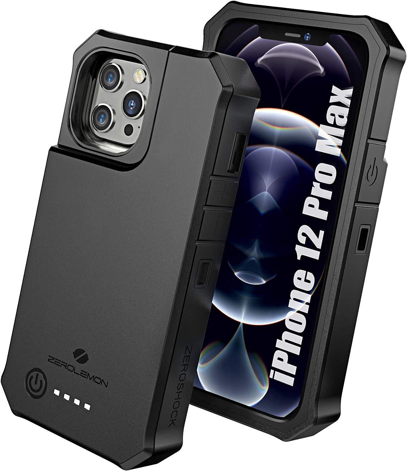 """ZEROLEMON iPhone 12 Pro Max Battery Case 10000mAh, Wireless Charging & Lightning Headphone Supported, RuggedJuicer Extended Battery Charger Case for iPhone 12 Pro Max 6.7"""" 2020 - Black"""