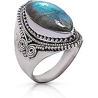 خاتم كلاسيكي على الجانب الحلزوني من الفضة الاسترلينية 925 - مجوهرات بوهو أنيقة يدوية الصنع - عصري وأنيق للبنات والنساء…