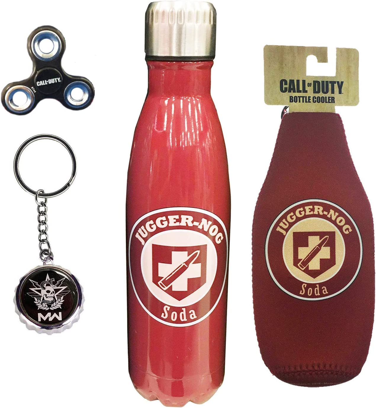 Call of Duty Perks 4 Piece Gift Bundle Water Bottle, Bottle Koozie, Fidget Spiner, East/West Faction Key Chain (Jugger-Nog)