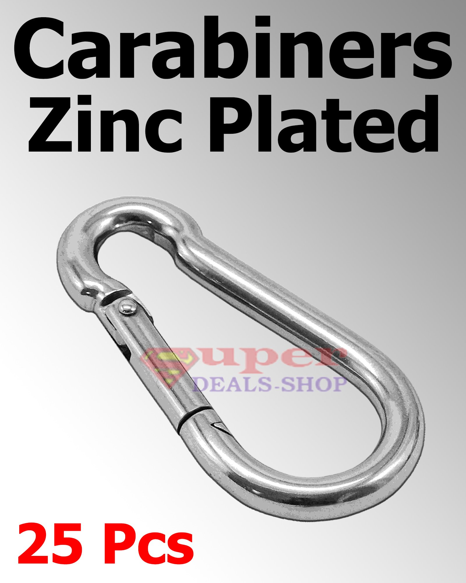 25 Pcs 3/16 Snap Hooks Carabiners Zinc Plated Spring Hooks Heavy Duty Choose Size/Quantity In Listing Made in USA Super-Deals-Shop
