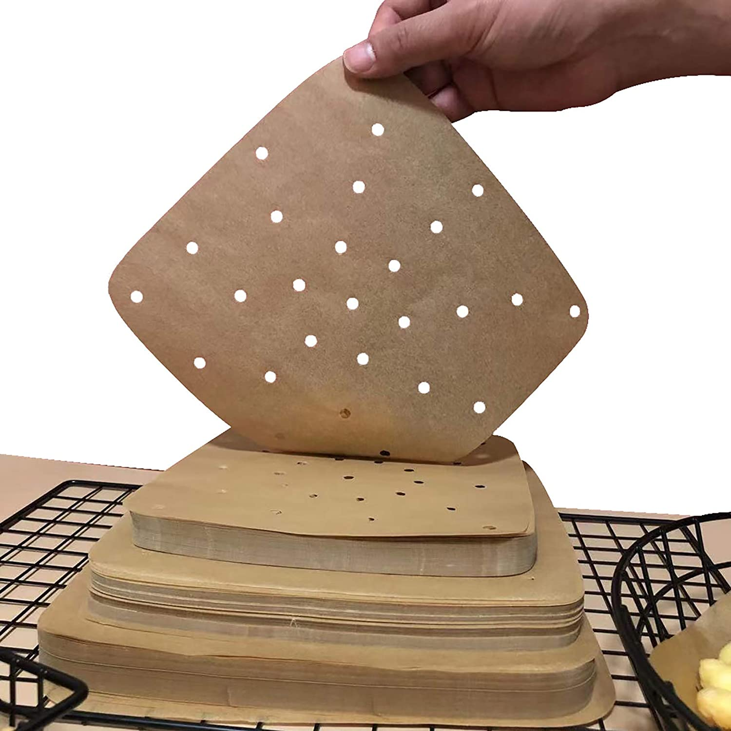 Square Air Fryer Parchment Paper Liners 200Pcs Perforated Parchment Filter Paper Accessories Unbleached for Air Fryer, Steaming Basket,Bamboo Steamer,No Burn, Easy Cleanup (Light Brown, 8.5 Inch)